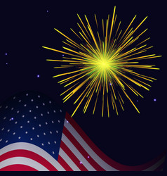 4th of july golden yellow fireworks vector image
