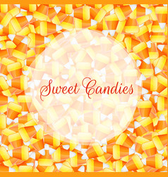 A close up background pile of candy corn vector