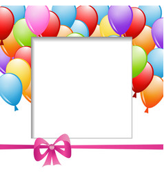 a frame with balloons and a ribbon vector image