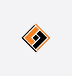 abstract square business logo black orange icon vector image