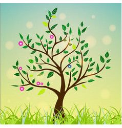abstract tree with green leaves flowers on a vector image