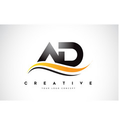 ad a d swoosh letter logo design with modern vector image
