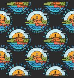 adventure seamless pattern with camp labels badges vector image