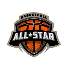 All star basketball sports logo emblem vector
