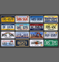 American vehicle registration number plates vector
