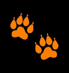 Animal tracks sign orange icon on black vector