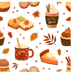autumn pastry and drinks flat seamless pattern vector image