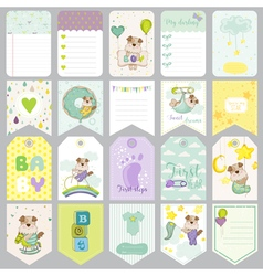 Baby dog tags banners scrapbook labels vector