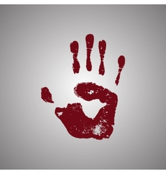Bloody handprint isolated on white background vector