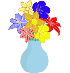 Bouquet of flowers in vase vector