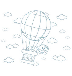 boy on a big balloon vector image