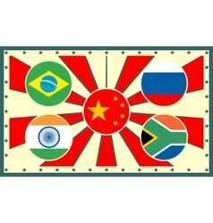 Brics members national flags on sun rays backdrop vector