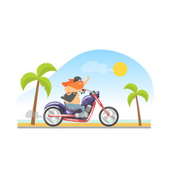 brutal biker with long beard riding motorcycle vector image