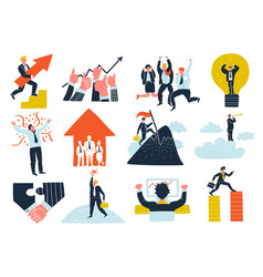 business success flat icons set vector image
