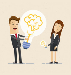 businessman hold a big light bulb with brain an vector image