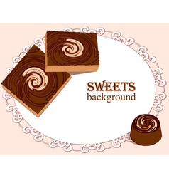 Cake on doily vector image