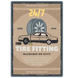 car repair service retro banner tire shop design vector image