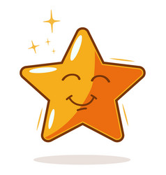 cartoon gold star icon vector image