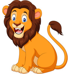 Cartoon happy lion sitting vector