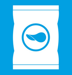 Chips plastic bag icon white vector