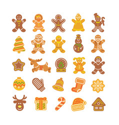 christmas gingerbread cookies simple flat icons vector image