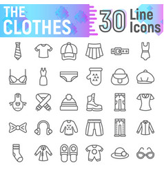 clothes line icon set cloth symbols vector image