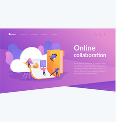 Cloud collaboration landing page template vector