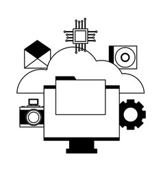 cloud computing monitor file vector image