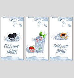 Cold fruit drink promotion poster vector