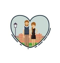 Colorful of couple cartoon inside heart design vector