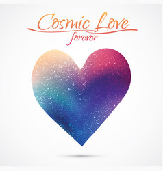 Cosmic love concept heart with night sky and vector