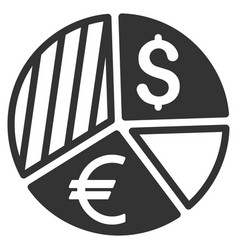 Currency pie chart flat icon vector