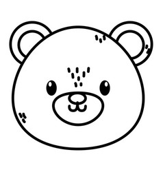 Cute bear head character cartoon thick line vector
