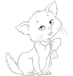 cute cartoon cheerful kitten coloring page vector image