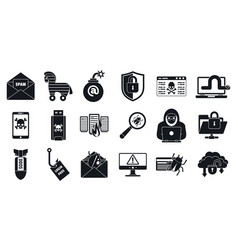 Cyber attack virus icons set simple style vector