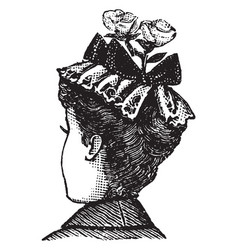 decorative hat with flowers vintage engraving vector image