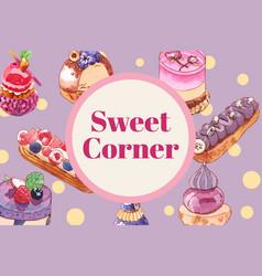 Dessert frame design with cupcake bread creative vector