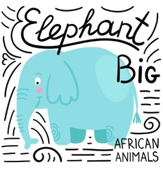 Elephant blue on a white background isolated vector