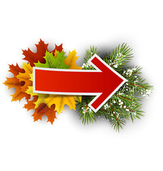 Fall and winter card with arrow vector