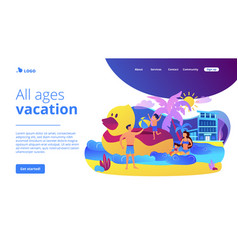 Family vacation concept landing page vector
