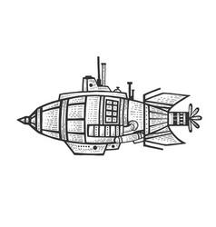 fantastic fabulous bathyscaphe engraving vector image