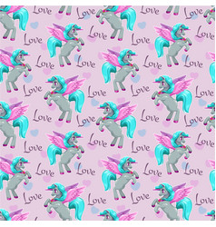 Fantasy wallpaper tle with cute pegasus beautiful vector