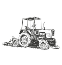 farm tractor hand drawn sketch vector image