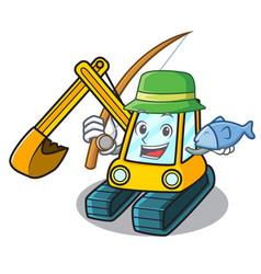 fishing excavator mascot cartoon style vector image