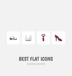 Flat icon garment set of brasserie cravat heeled vector