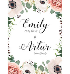 Floral wedding invite elegant card with flowers vector