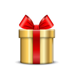gift box icon surprise present gold template red vector image