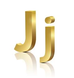 Golden letter J vector image