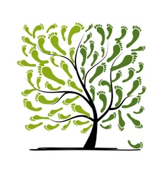 Green footprint tree for your design vector image