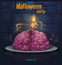 Halloween party - brains on the plate vector